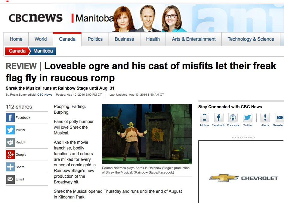 CBC Shrek The Musical Review